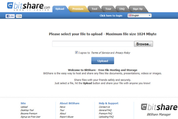 BitShare.com website layout design upload file sharing