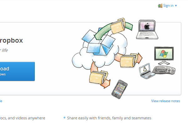 Internet cloud hosting file storage Dropbox.com homepage