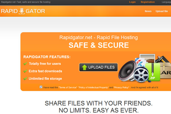 Personal private cloud hosting Rapidgator.net website layout