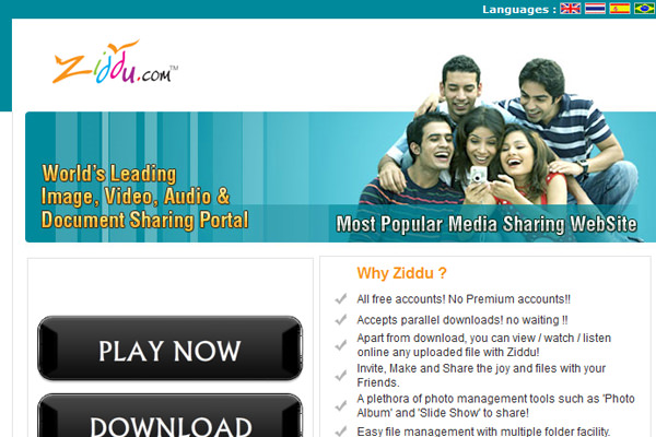 Ziddu world's leading images file storage cloud hosting services