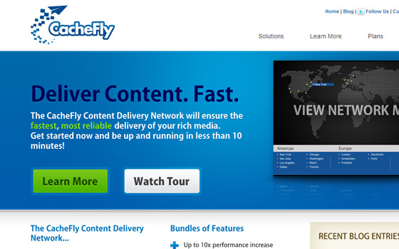 CacheFly CDN Cloud Network homepage website layout
