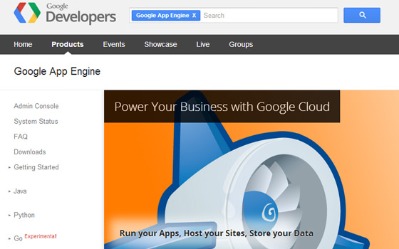 Google App Engine homepage for web developers CDN storage