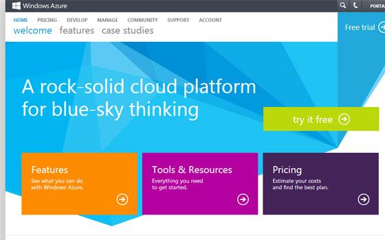 Windows Azure CDN cloud hosting homepage plans