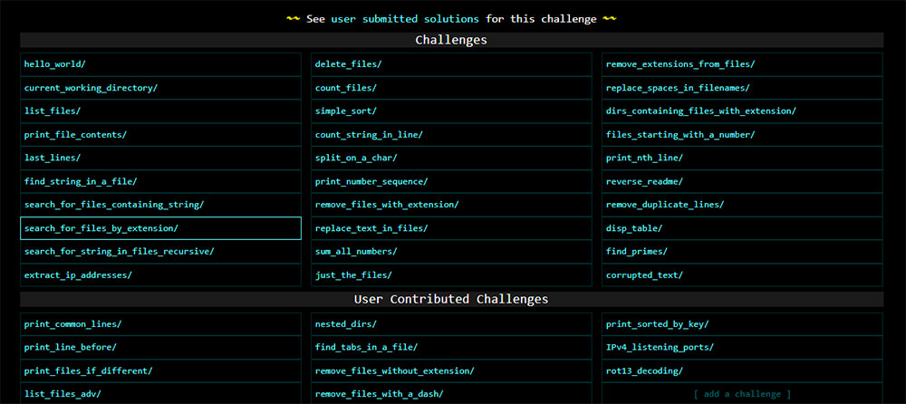 List of CMD challenges