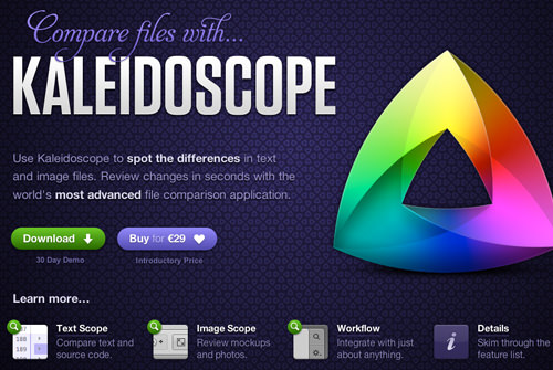 homepage of kaleidascope os x app