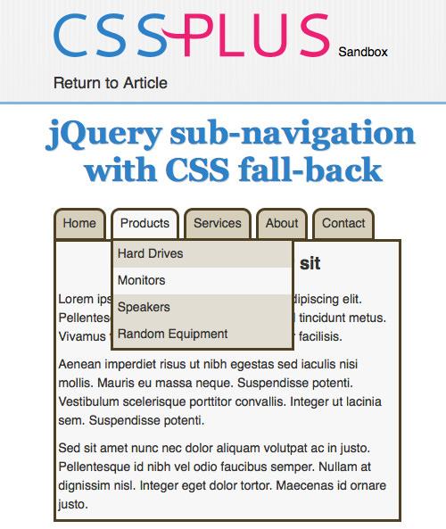 CSS-Plus jQuery Menu