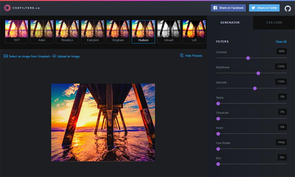 cssfilters webapp screenshot