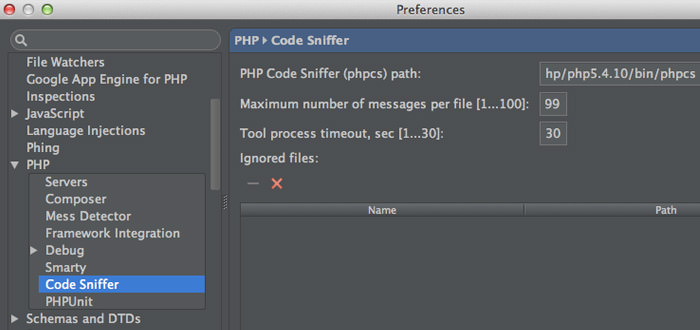 php codesniffer screenshot