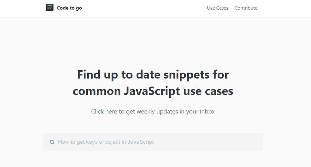 CodeToGo free js snippets