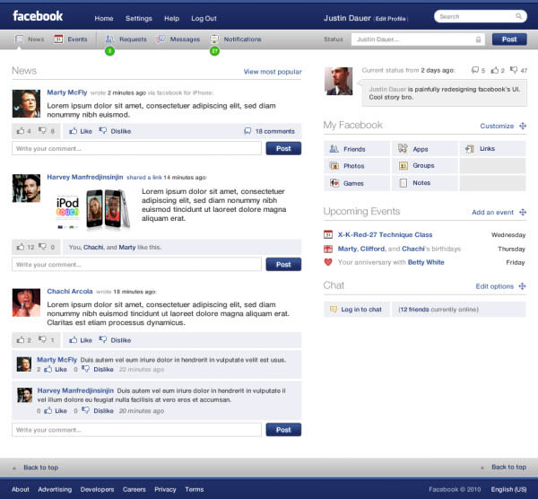 facebook main page by justin dauer