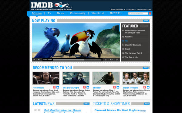 imdb main page by rob hendricks