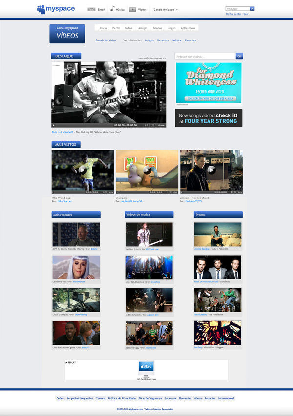 myspace videos channel page by rafael oliveira