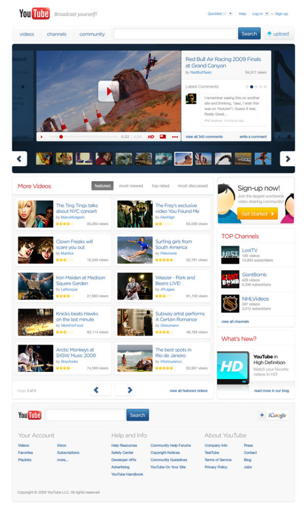 youtube main page by thadeu morgado