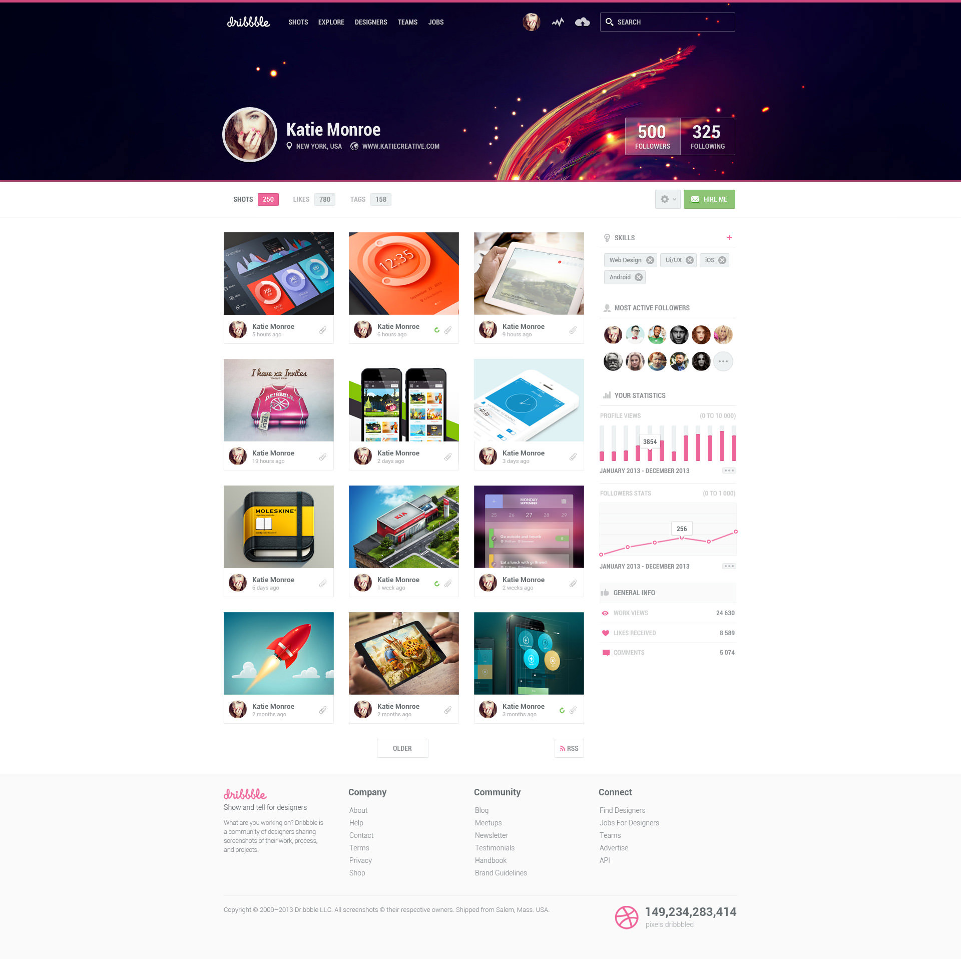 dribbble website redesign
