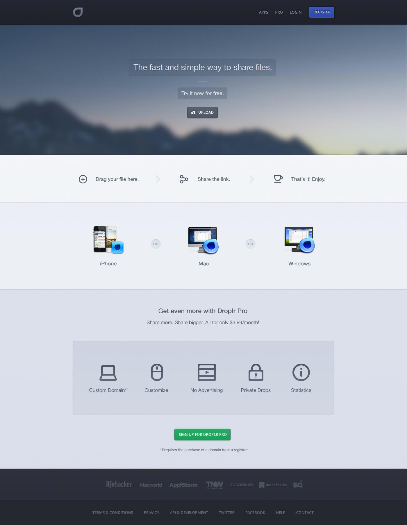 droplr website redesign