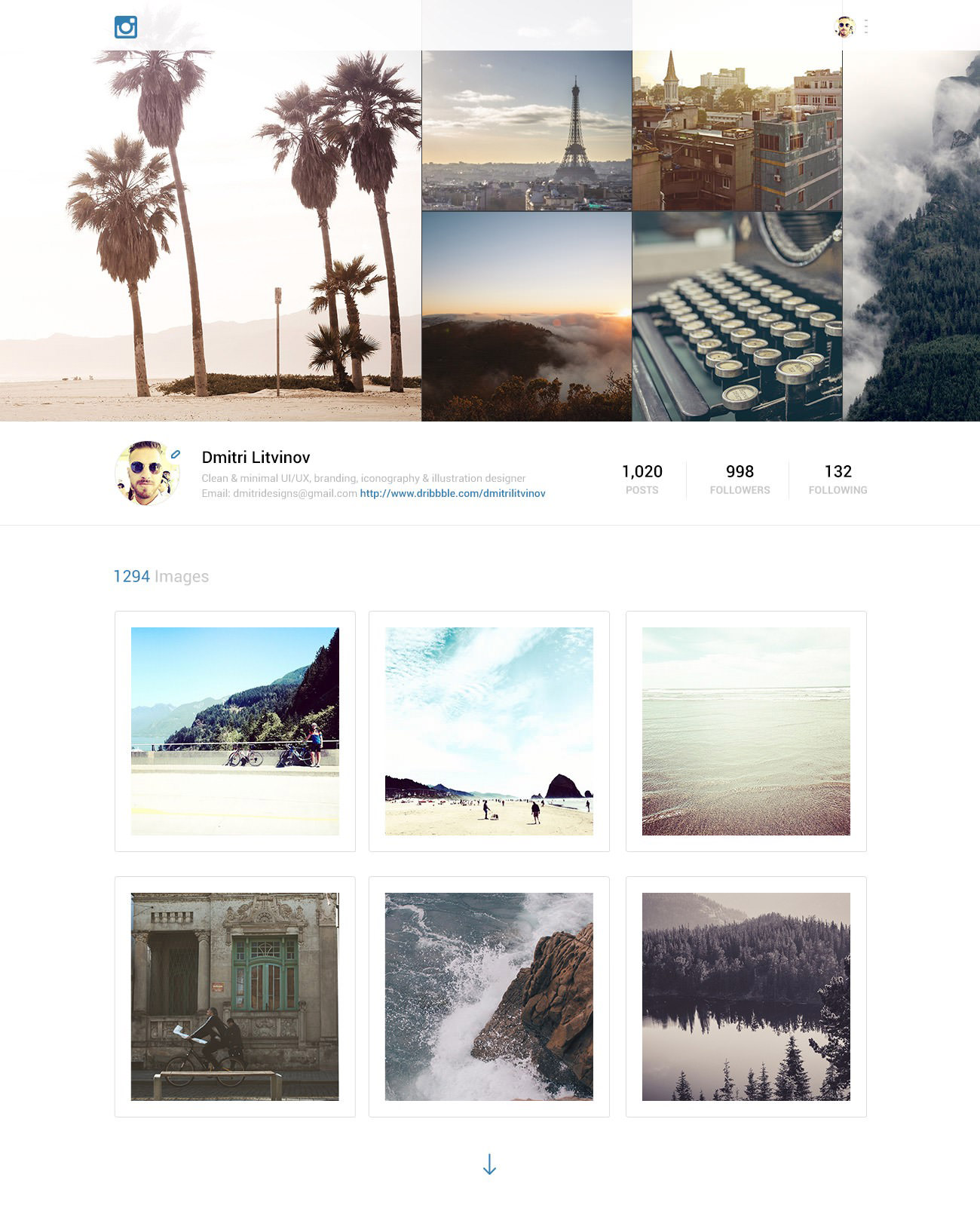 instagram website redesign