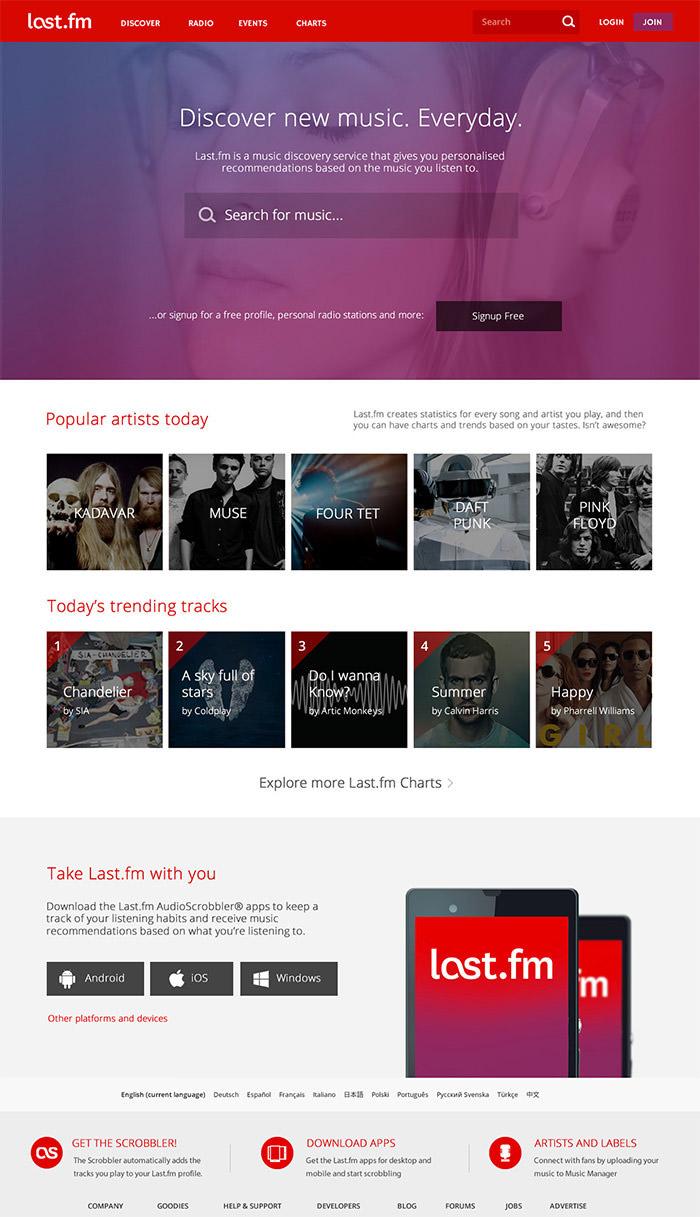 lastfm website redesign