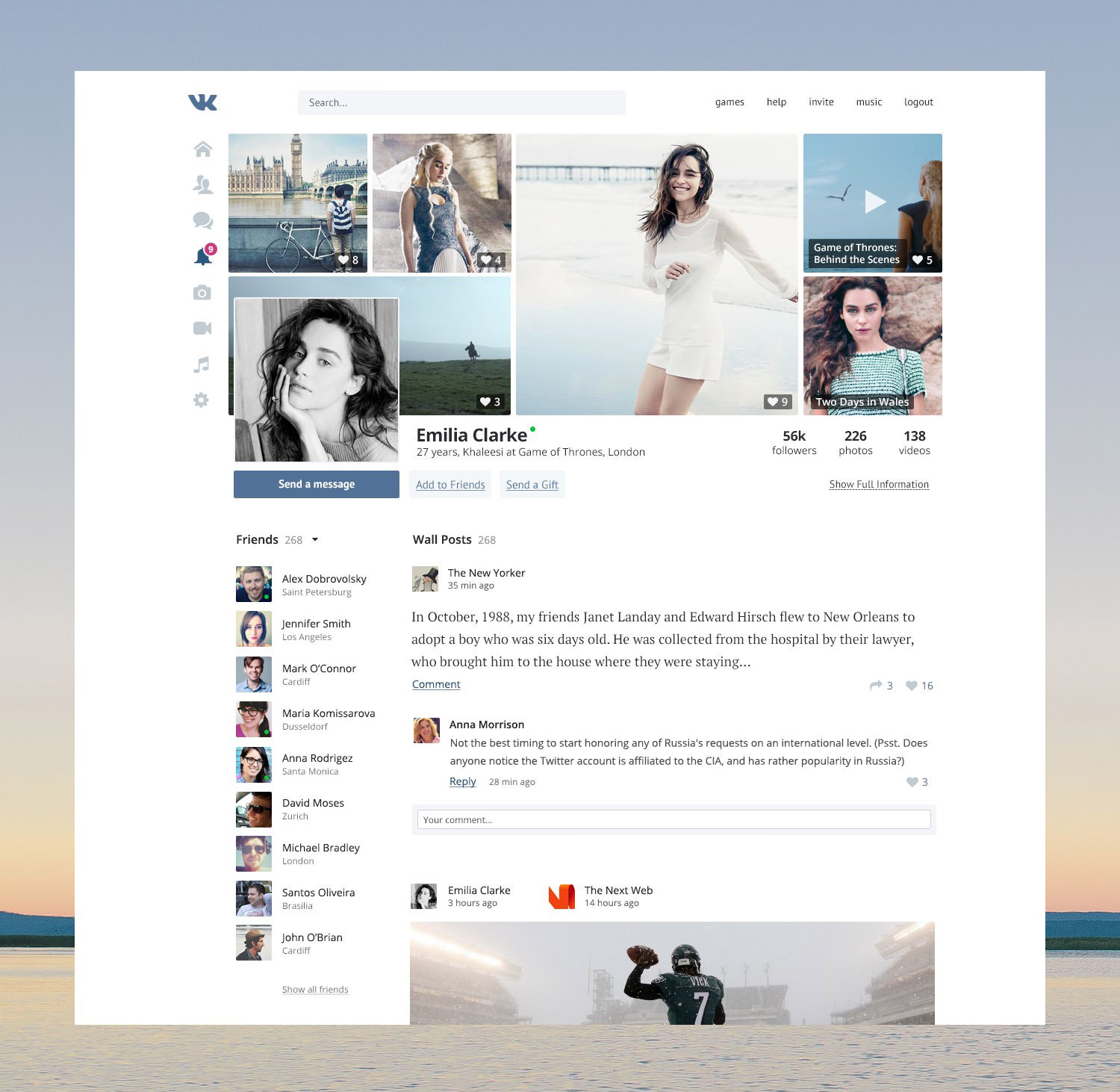 social network website redesign