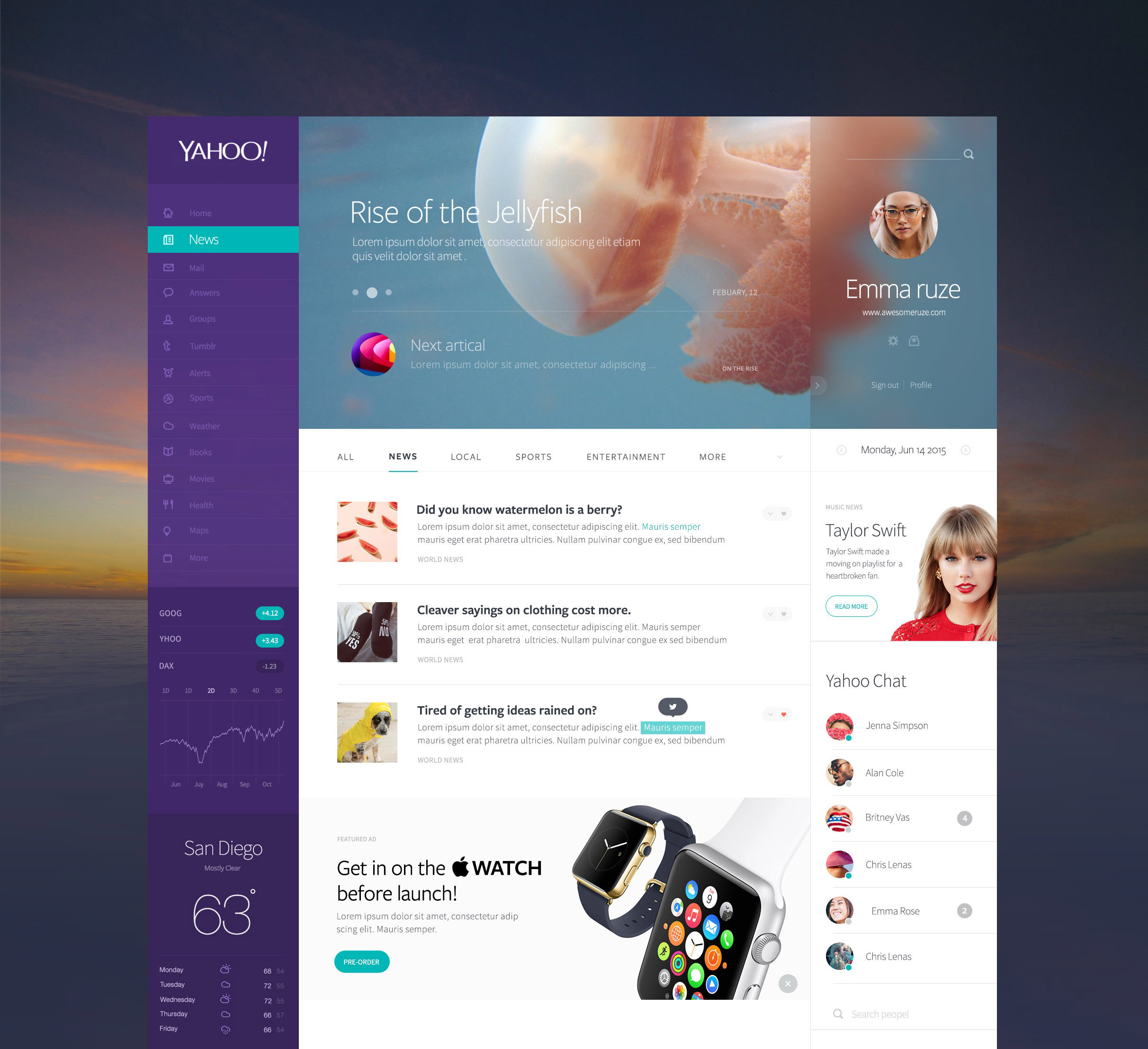 yahoo website redesign