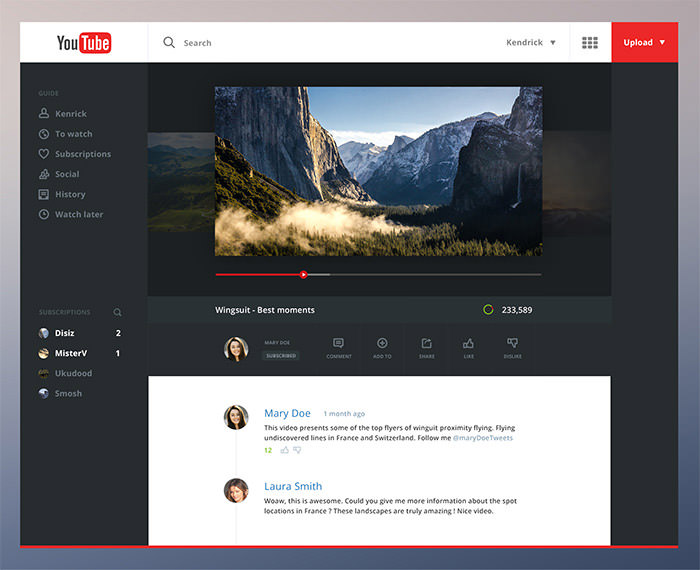youtube website redesign