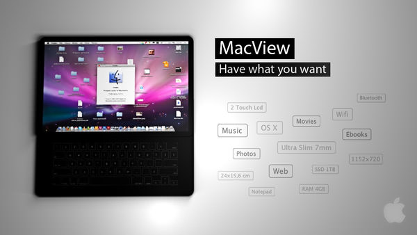 macview: front view with keyboard