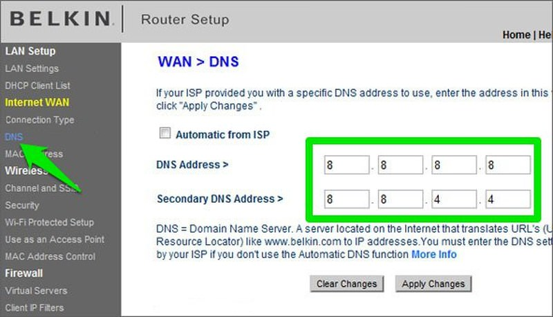 change dns in router