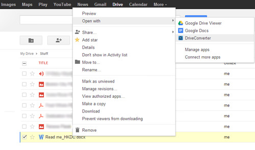 choose file on google drive