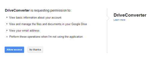 allow access to google drive