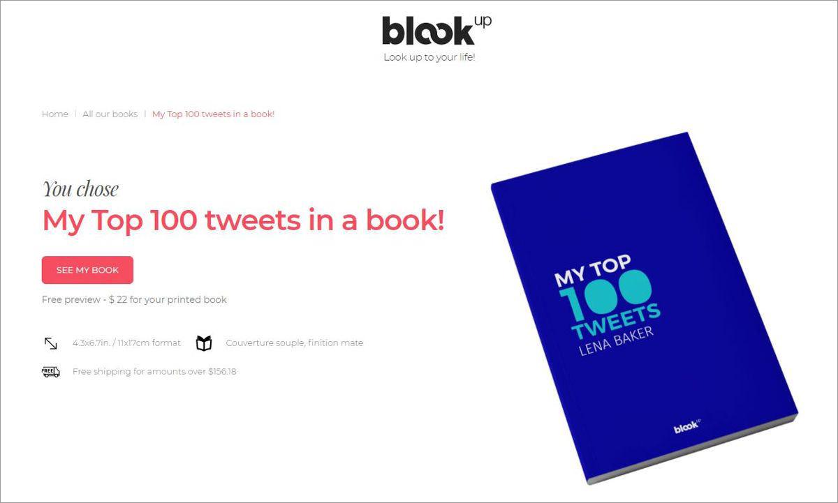BlookUp помогает конвертировать твиты в книги