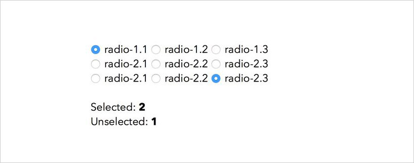 Counting radio button real-time
