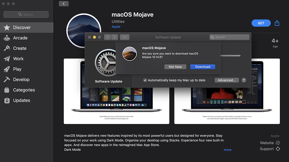 mojave download via itunes