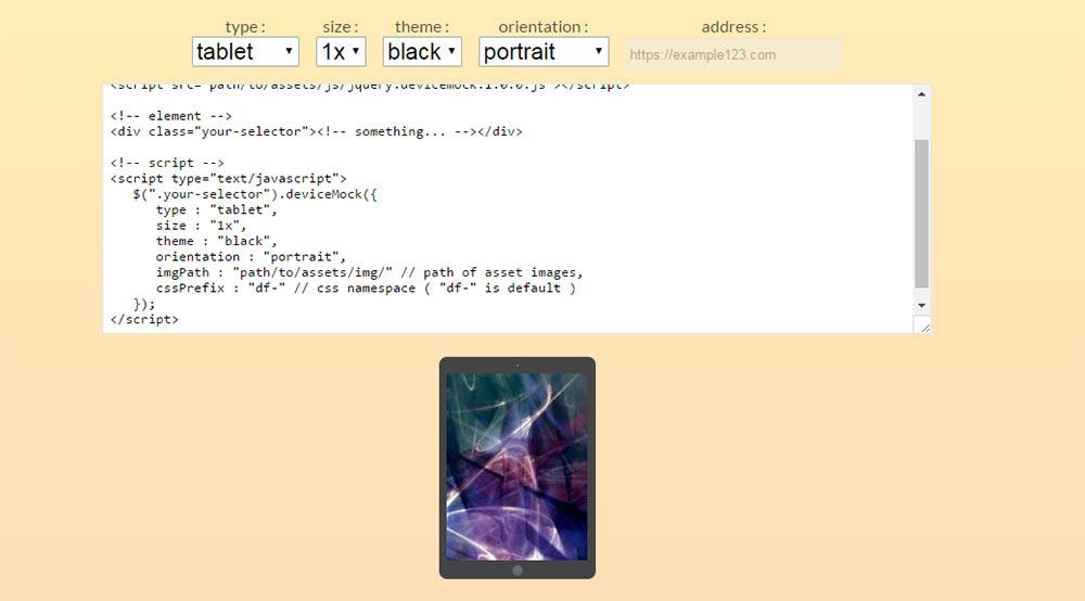 Tablet mockup JS preview