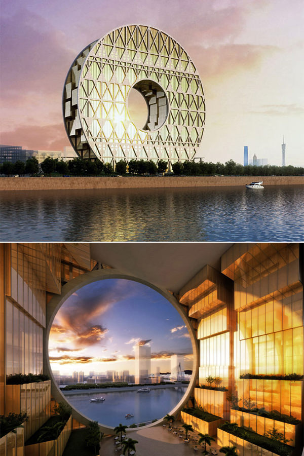 Disk Office with a Hole by Joseph DiPasquale. Built in Guangzhou, China and  just recently completed, this 138-meter-tall structure was designed in the  ...