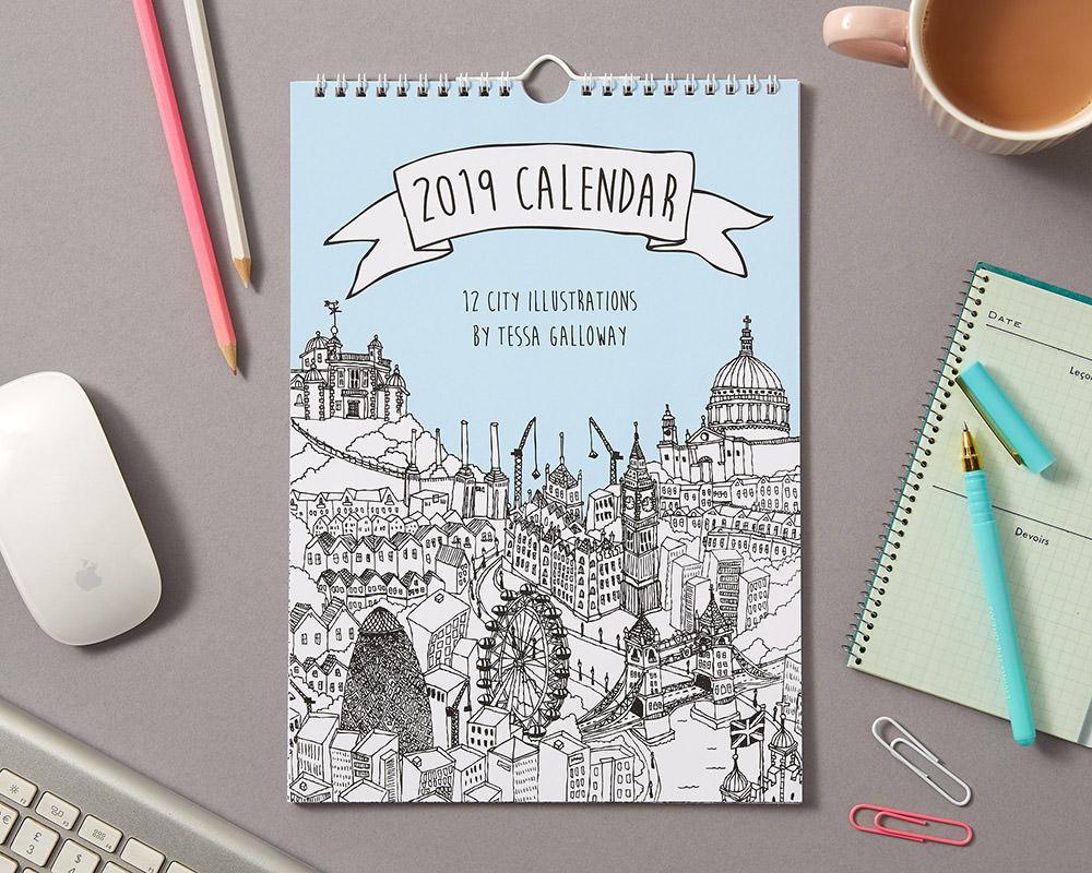 City Illustrations Wall Calendar