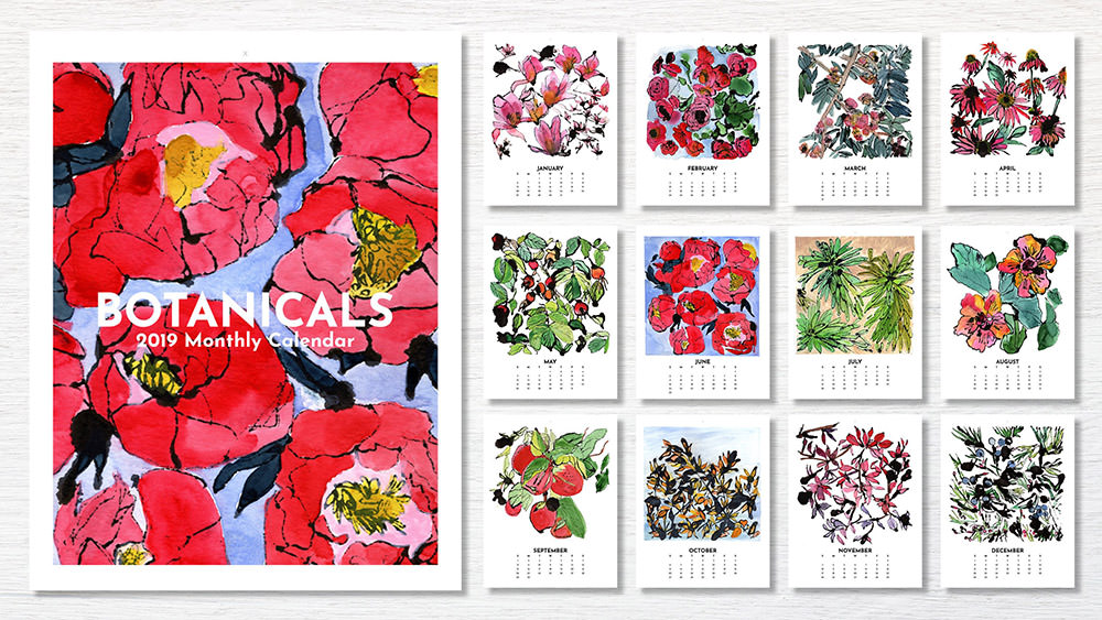 Watercolor Botanical 2019 Calendar