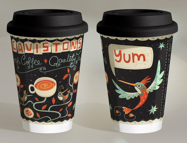 illustrated coffee cup design by steve simpson - Cup Design Ideas