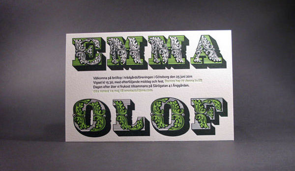 Unique Green and Black Letterpress Wedding Invitation
