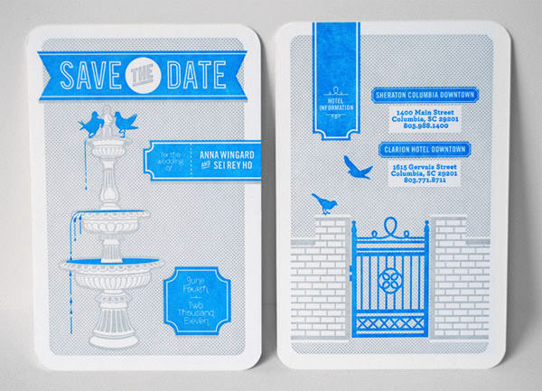 Mid-Century Style Blue and Gray Save the Dates