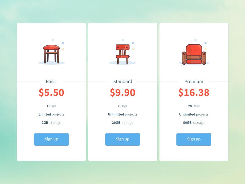 furniture theme pricing plan