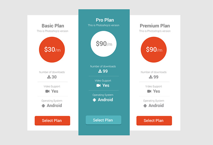 25 creative pricing table designs for inspiration hongkiat for Email table design