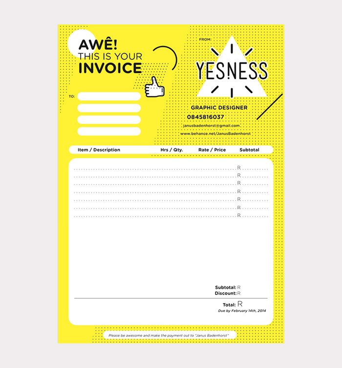 50 creative invoice designs for your inspiration hongkiat yesness self branding saigontimesfo
