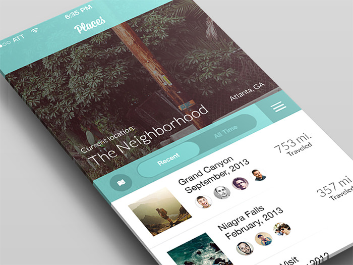 places travel concept - App Design Ideas