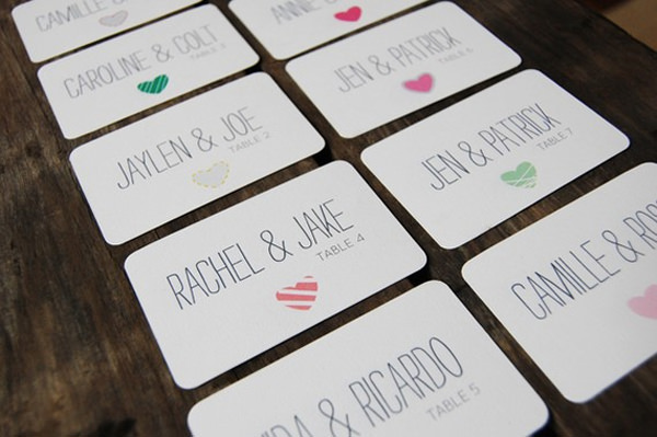 Handmade Escort Cards With Hearts