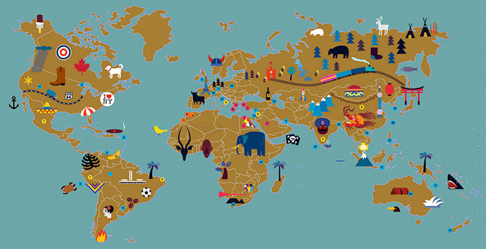 40 creative remakes of the world map hongkiat tricks of the trade this is a world map for afisha mir magazine displaying features of particular countries are famous for image source maria zaikina gumiabroncs