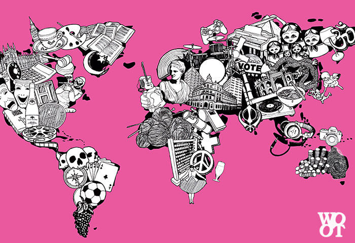 40 creative remakes of the world map hongkiat this psychedelic map on a pink background superimposes features atop countries and their borders youre not sure where something starts or ends gumiabroncs Choice Image