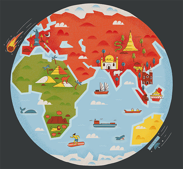 Creative Remakes Of The World Map Hongkiat - The map of the world