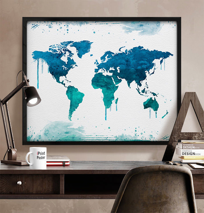 Watercolors world map