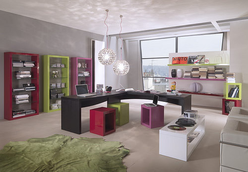 Mazzali: Krea bookcase / libreria Krea. Living and office area