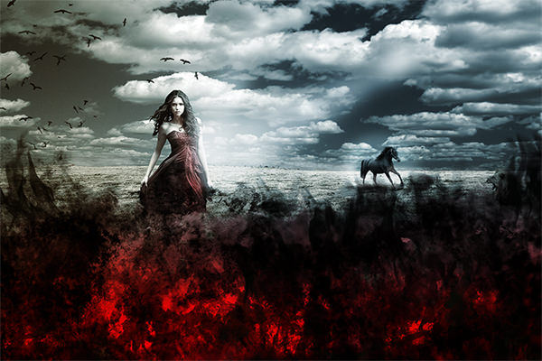 Artistic Photo Manipulation of a Girl in a Red Field