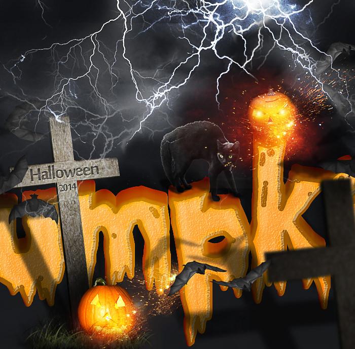 Spooky Halloween Pumpkin Text Effect